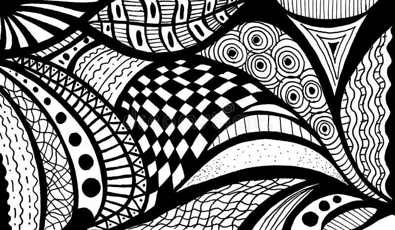 Abstrakcjonistyczny czarny i biały falowy wzór ilustracji