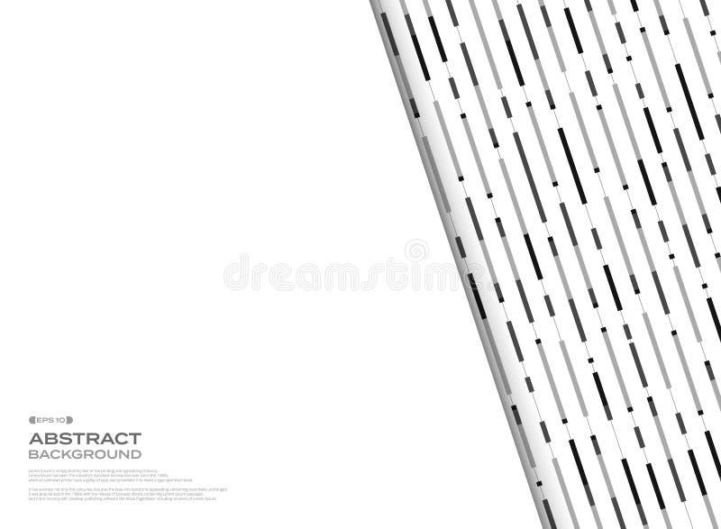 Abstrakcjonistyczny czarny i biały geometryczny lampas linii wzór za białym bezpłatnej przestrzeni tłem ilustracji