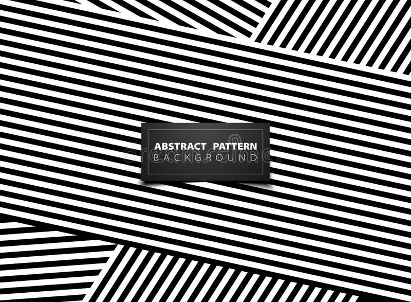 Abstrakcjonistyczny czarny i biały op sztuki lampasa linii wzoru projekt Ilustracyjny wektor eps10 ilustracji
