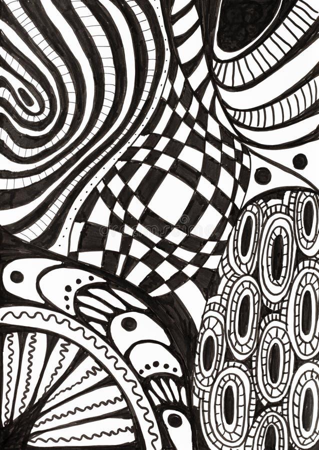 Abstrakcjonistyczny czarny i biały ornament rysujący atramentem ilustracji