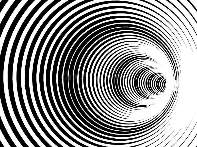 Abstrakcjonistyczny czarny i biały tło z ślimakowatym tunnell illustr ilustracji