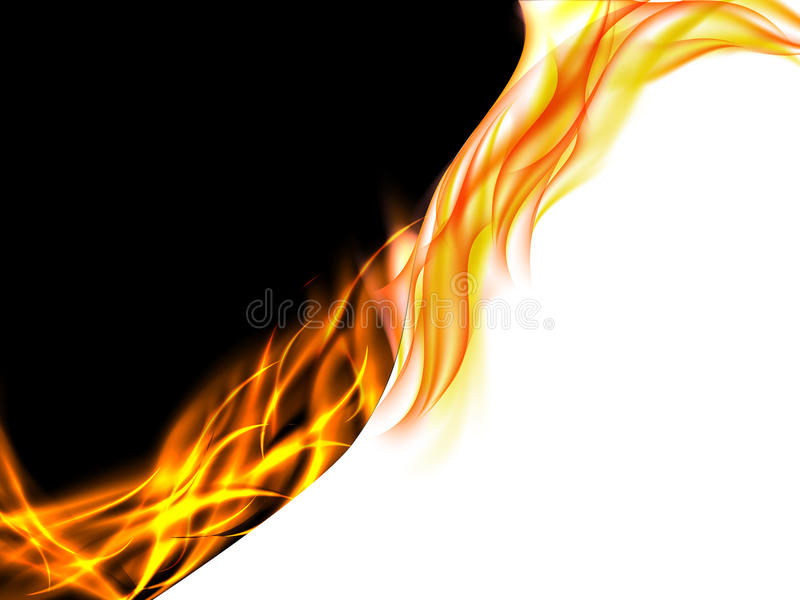 Abstrakcjonistyczny czarny i biały tło z płomieniami na linii podziału ilustracja wektor