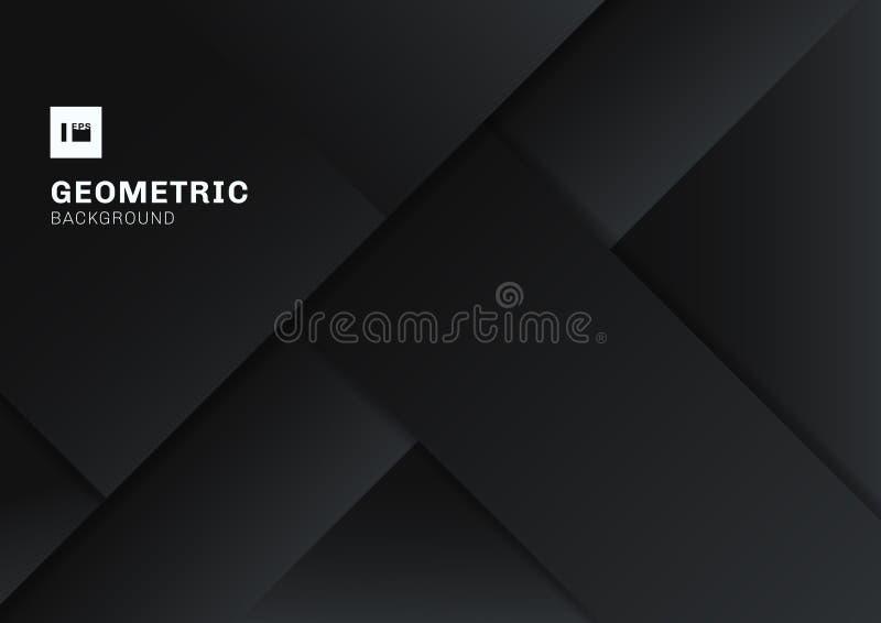 Abstrakcjonistyczny czarny i szary geometryczny kształt pokrywa się 3D wymiarowego tło Szablonu nowożytny płaski materialny ciemn ilustracji