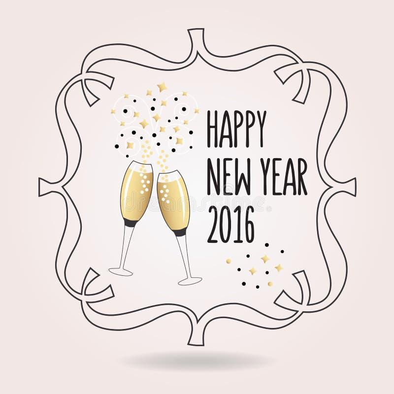 Abstrakcjonistyczny czarny i złoty Szczęśliwy nowy rok 2016 rozwesela ikonę ilustracja wektor