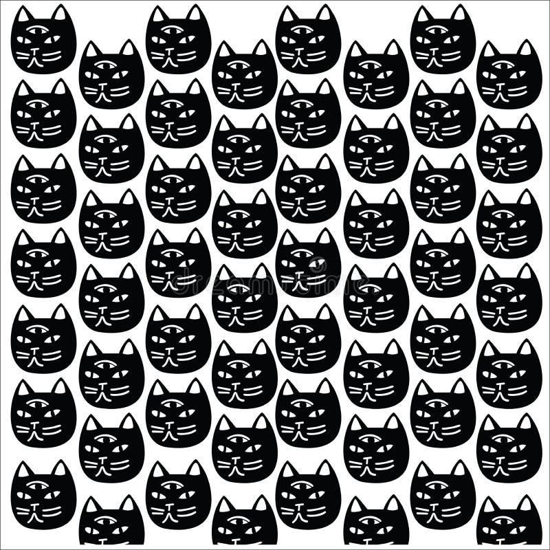 Abstrakcjonistyczny czarny kot z trzy okiem ilustracji