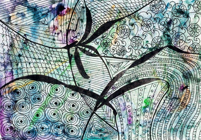 Abstrakcjonistyczny czarny kwiecisty wzór na barwionym papierze ilustracji