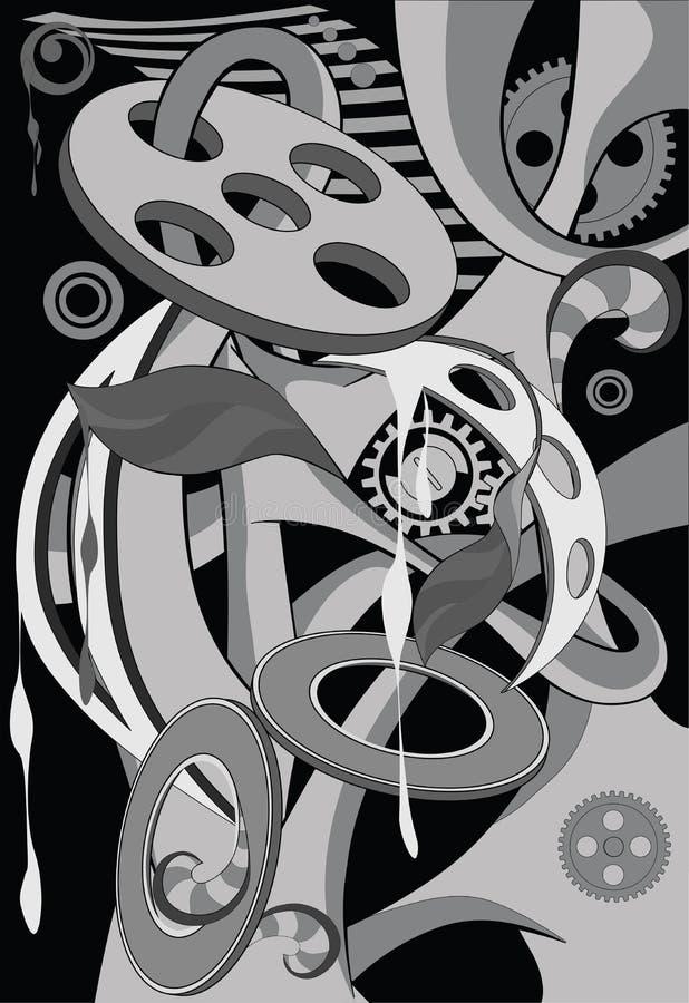 abstrakcjonistyczny czarny przekładni wzoru biel royalty ilustracja