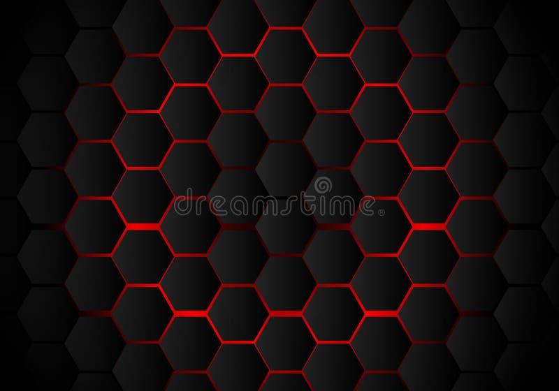 Abstrakcjonistyczny czarny sześciokąta wzór na czerwonym neonowym tło technologii stylu Honeycomb ilustracja wektor