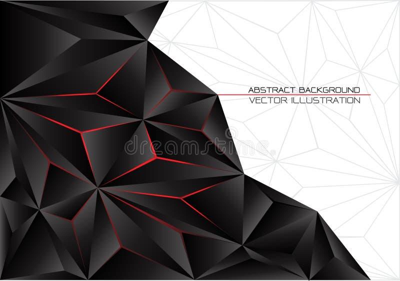 Abstrakcjonistyczny czarny trójboka wieloboka czerwone światło z białego szarości linii projekta tła nowożytnym futurystycznym we royalty ilustracja