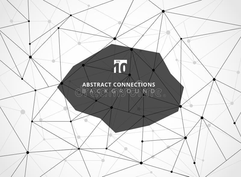 Abstrakcjonistyczny czarny wireframe wykłada geometrycznych związki z guzkami ilustracji