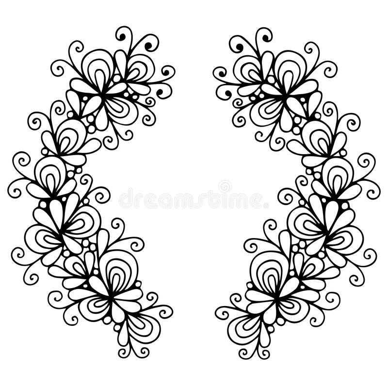 Abstrakcjonistyczny czerni linii wianek z kwiatem royalty ilustracja