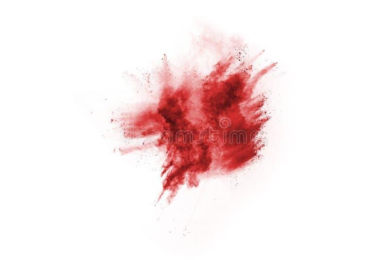 Abstrakcjonistyczny czerwień proszek splatted na białym tle, fotografia stock