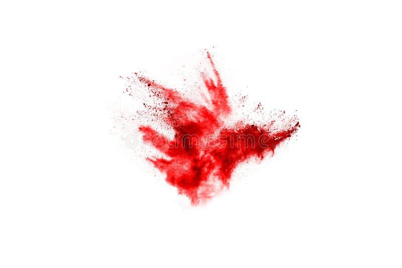 Abstrakcjonistyczny czerwień proszek splatted na białym tle, fotografia royalty free