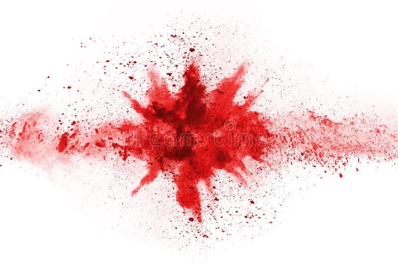 Abstrakcjonistyczny czerwień proszek splatted na białym tle, zdjęcia royalty free