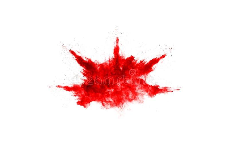 Abstrakcjonistyczny czerwień proszek splatted na białym tle, obrazy royalty free