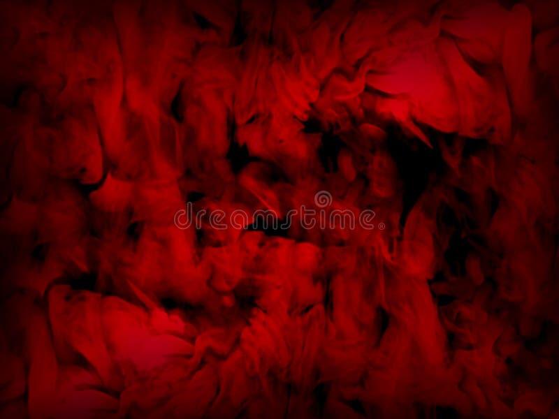 Abstrakcjonistyczny czerwień dym na czarnym tle ilustracji