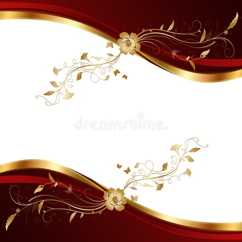 Abstrakcjonistyczny czerwieni i złota tło. ilustracji