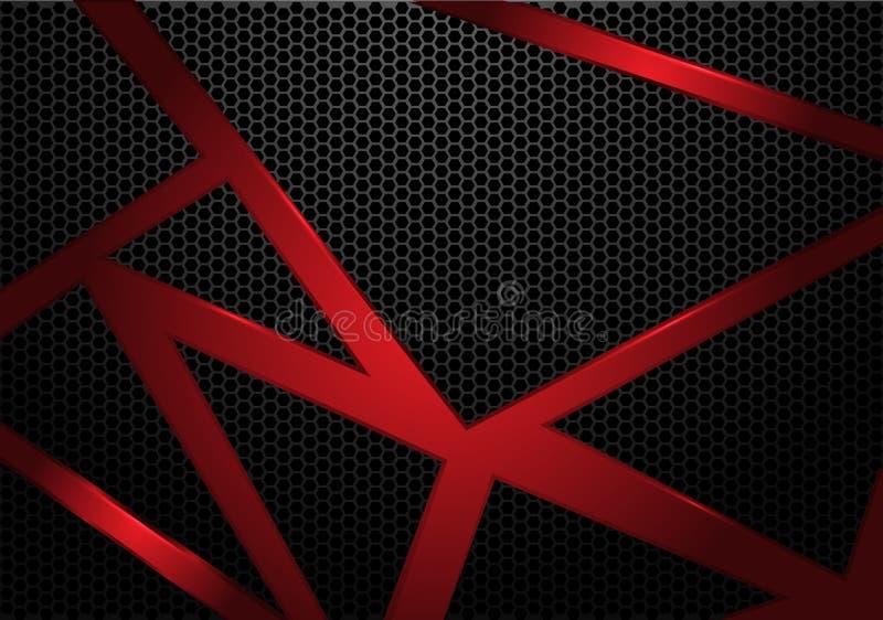 Abstrakcjonistyczny czerwona linia trójbok na zmroku sześciokąta siatki wzoru popielatego projekta tła nowożytnym futurystycznym  royalty ilustracja