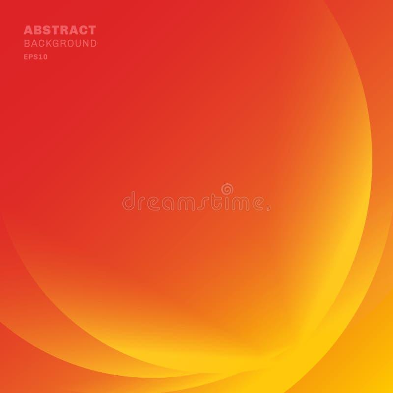 Abstrakcjonistyczny czerwone światło linii fal tło Koloru żółtego i pomarańcze kolory ilustracja wektor