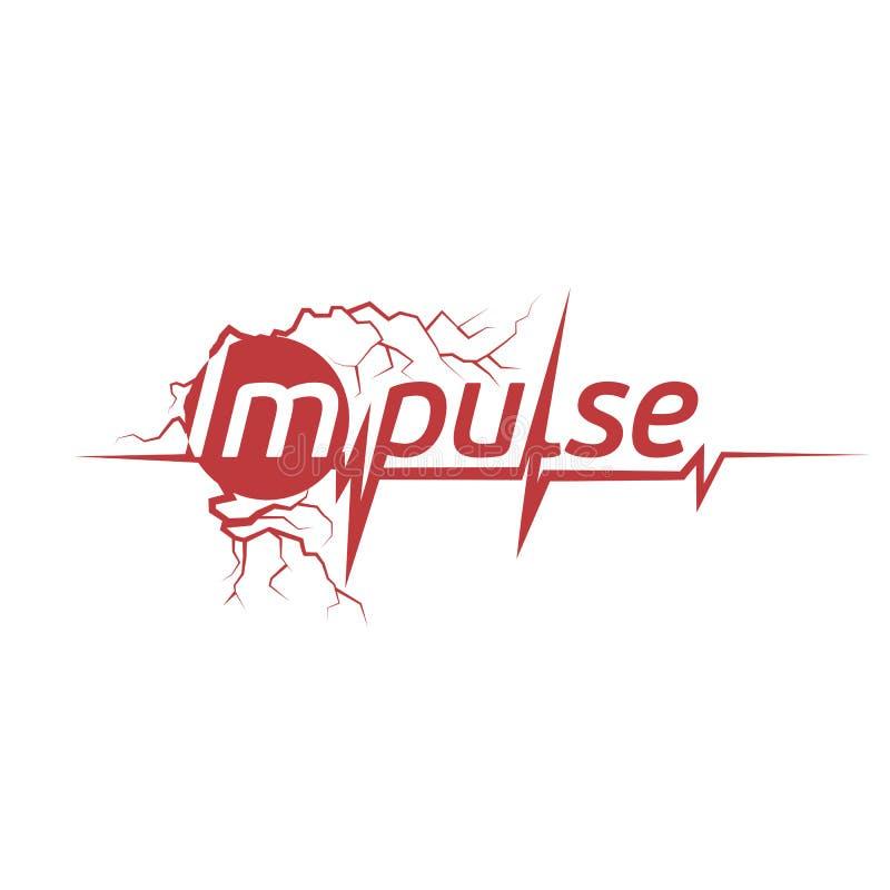 abstrakcjonistyczny czerwonego koloru kardiogram na białym tło logu Pulsu logotyp czarny zmiany ikony wątrobowy medyczny ochrony  ilustracja wektor