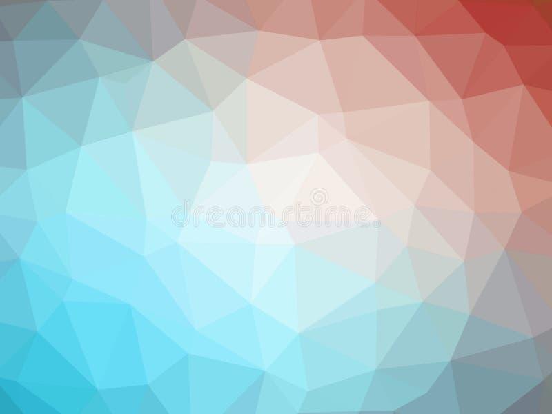 Abstrakcjonistyczny czerwony błękitny gradientowy niski wielobok kształtował tło ilustracji