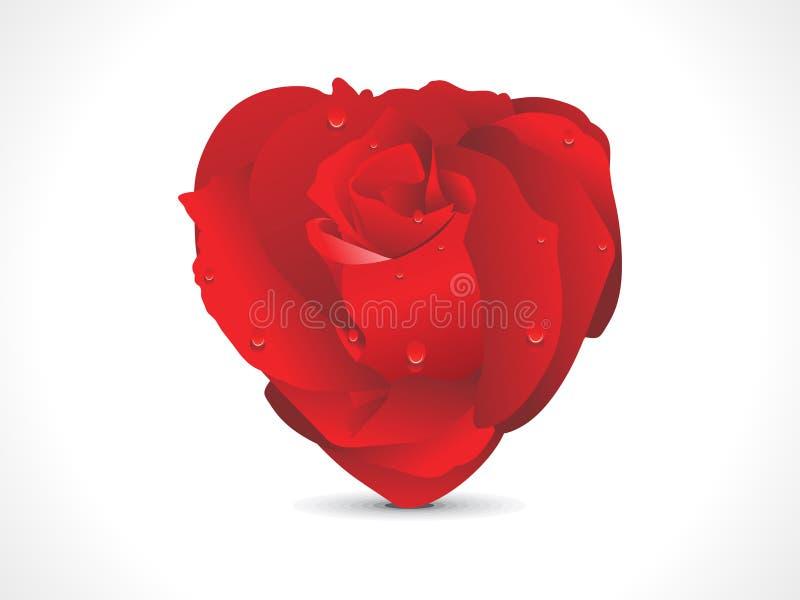 Abstrakcjonistyczny czerwony błyszczący różany serce ilustracja wektor