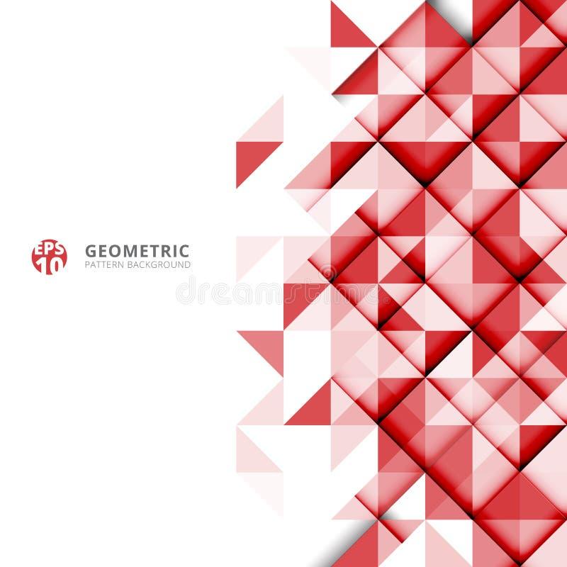 Abstrakcjonistyczny czerwony geometryczny trójboka wzór na białym tło dowcipie royalty ilustracja