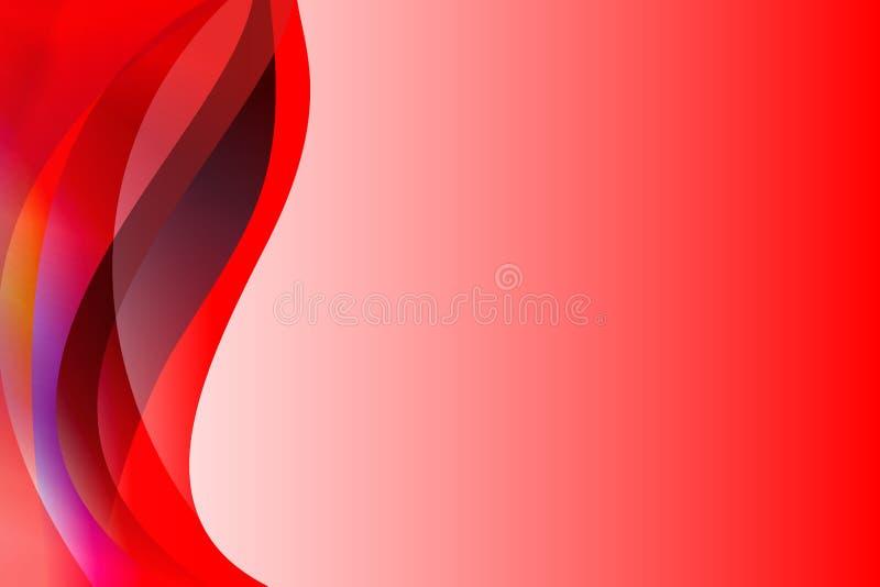 Abstrakcjonistyczny czerwony koloru żółtego, purpur i bielu falowy tło, płyną cienie i światło reprezentuje ruch i głębię i ilustracja wektor
