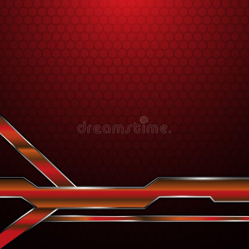 Abstrakcjonistyczny czerwony kruszcowy ramowy sześciokąt tekstury wzoru technologii pojęcia tło royalty ilustracja