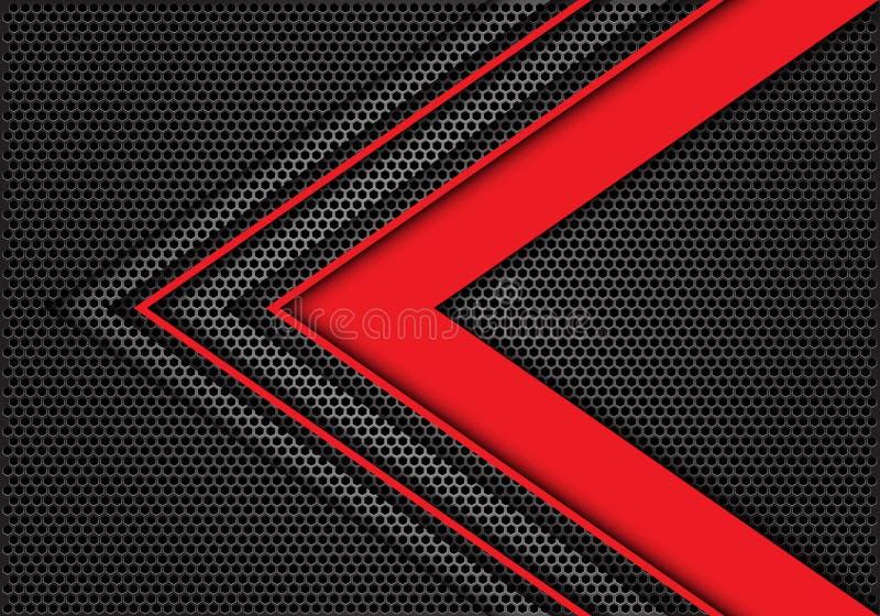 Abstrakcjonistyczny czerwony strzałkowaty prędkość kierunek na zmroku - szarego sześciokąt siatki projekta tła tekstury nowożytny ilustracja wektor