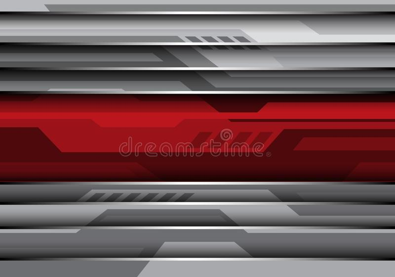 Abstrakcjonistyczny czerwony sztandar na szarego metal technologii futurystycznego stylowego projekta tła nowożytnym wektorze royalty ilustracja