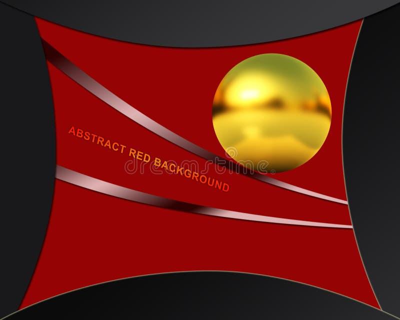 Abstrakcjonistyczny czerwony tło z złotą sferą ilustracji