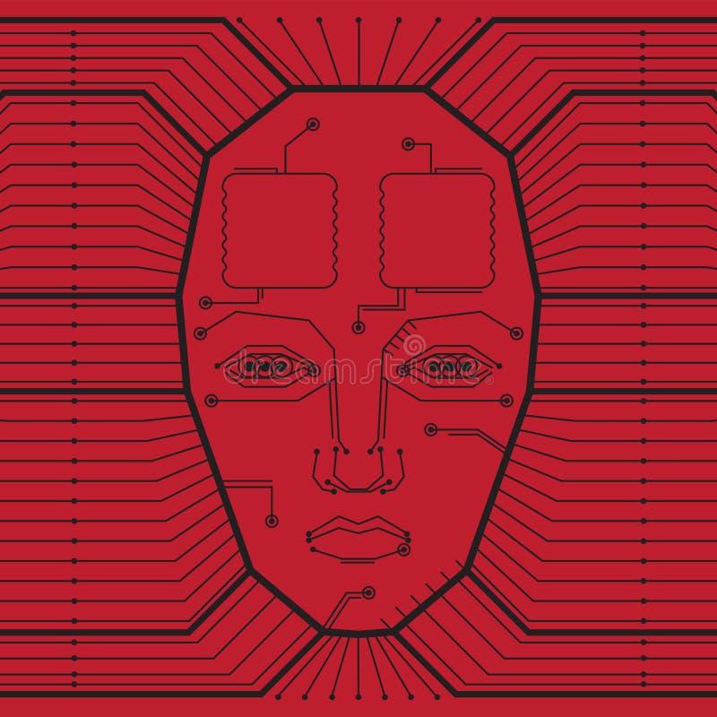 Abstrakcjonistyczny czerwony wektorowy tło z zaawansowany technicznie obwód deską i twarz mężczyzna ilustracja wektor