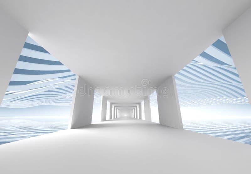 Abstrakcjonistyczny 3d architektury tło, pusty korytarz royalty ilustracja