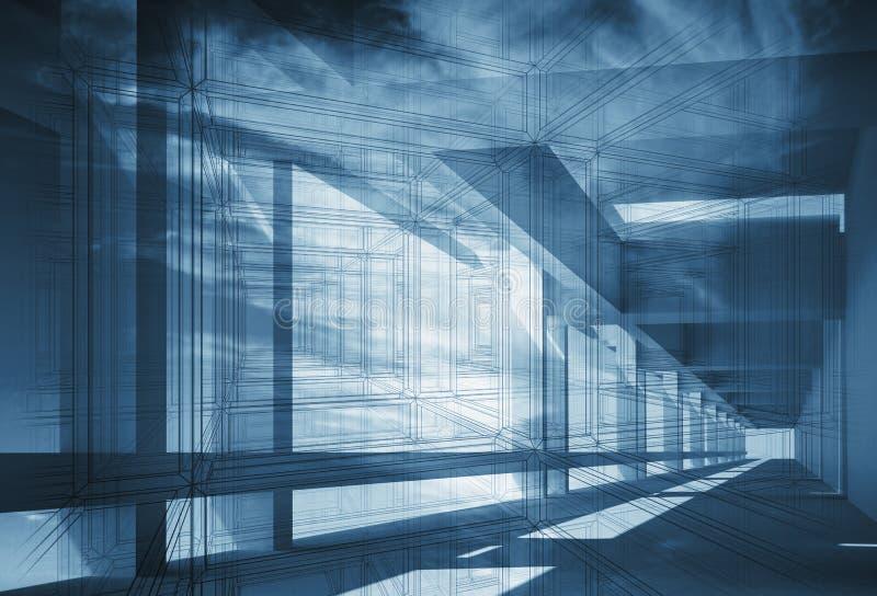 Abstrakcjonistyczny 3d architektury tło z błękitną perspektywą royalty ilustracja