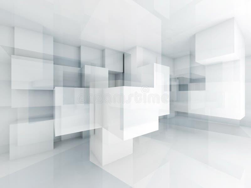 Abstrakcjonistyczny 3d architektury tło z chaotycznymi sześcianami ilustracji