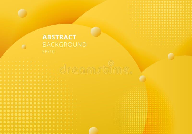 Abstrakcjonistyczny 3D ciekły fluid okrąża żółtego musztarda pasteli/lów koloru pięknego tło z halftone teksturą ilustracji