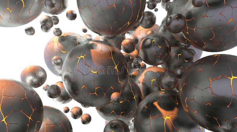 Abstrakcjonistyczny 3D ilustracyjny tło pełno krakingowe pożarnicze lawowe sfery różnorodna formy i atomu molekuły hitech komórka ilustracji