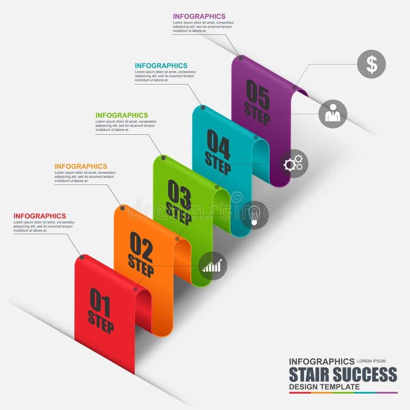 Abstrakcjonistyczny 3D kroka biznesowy schodowy sukces Infographic ilustracji