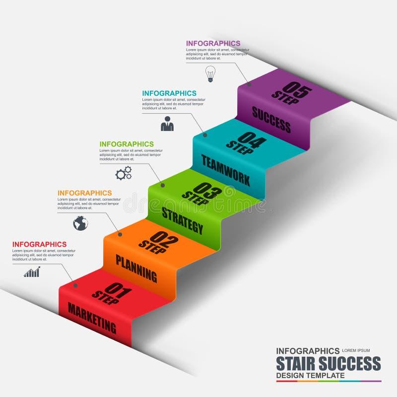 Abstrakcjonistyczny 3D kroka biznesowy schodowy sukces Infographic royalty ilustracja