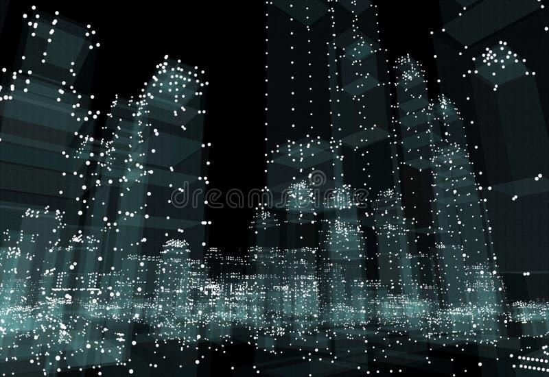 Abstrakcjonistyczny 3d miasta rendering ilustracji