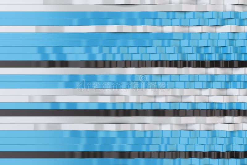 Abstrakcjonistyczny 3D rendering czarne, białe i błękitne sinus fala, ilustracja wektor