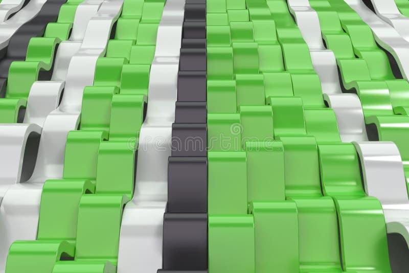 Abstrakcjonistyczny 3D rendering czarne, białe i zielone sinus fala, ilustracji