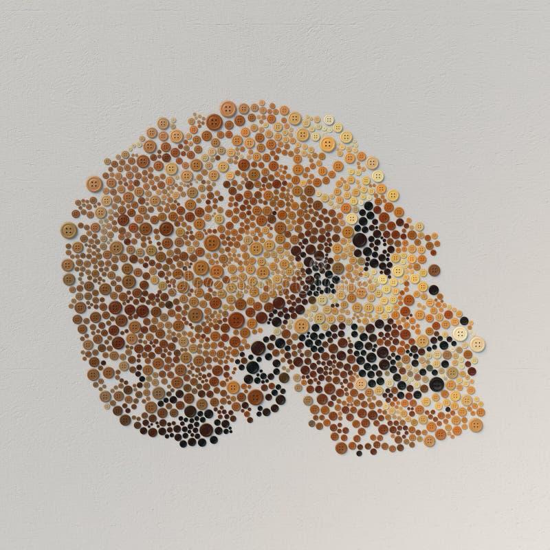 Abstrakcjonistyczny 3d rendering czaszka z barwionymi guzikami ilustracja wektor