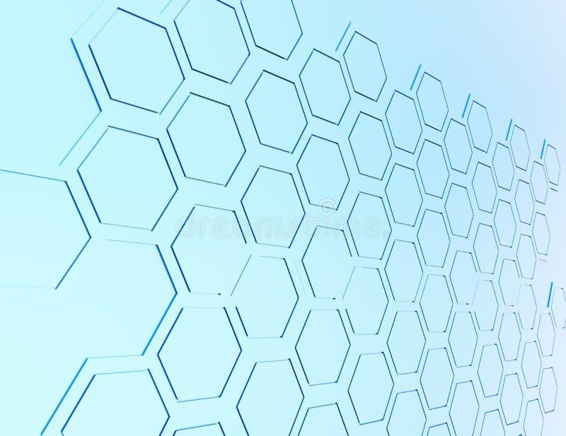 Abstrakcjonistyczny 3d rendering futurystyczna powierzchnia z sześciokątami ilustracji
