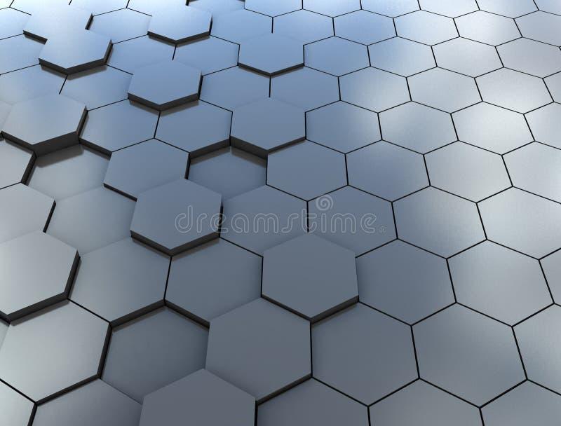 Abstrakcjonistyczny 3d rendering futurystyczna powierzchnia z sześciokątami błękitny ilustracja wektor