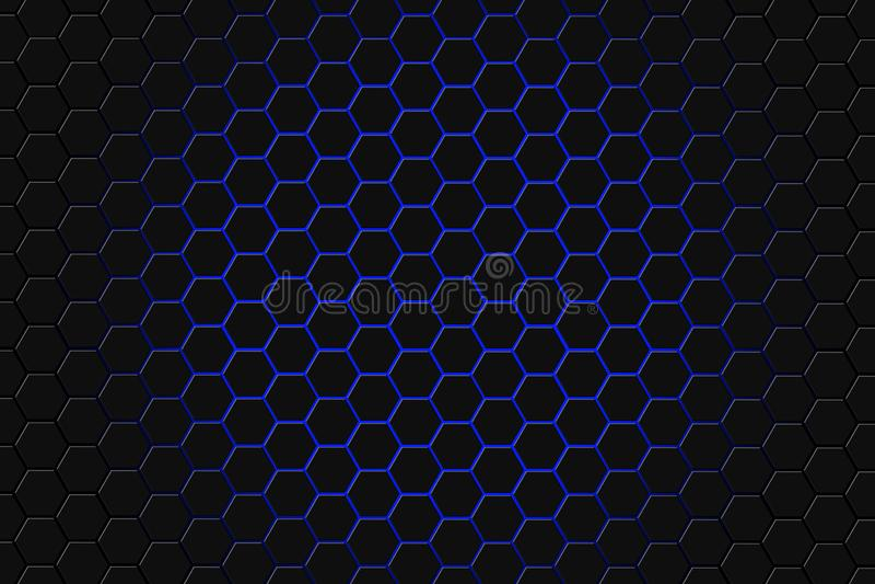 Abstrakcjonistyczny 3d rendering futurystyczna powierzchnia z sześciokątami Błękitny fantastyka naukowa tło ilustracji