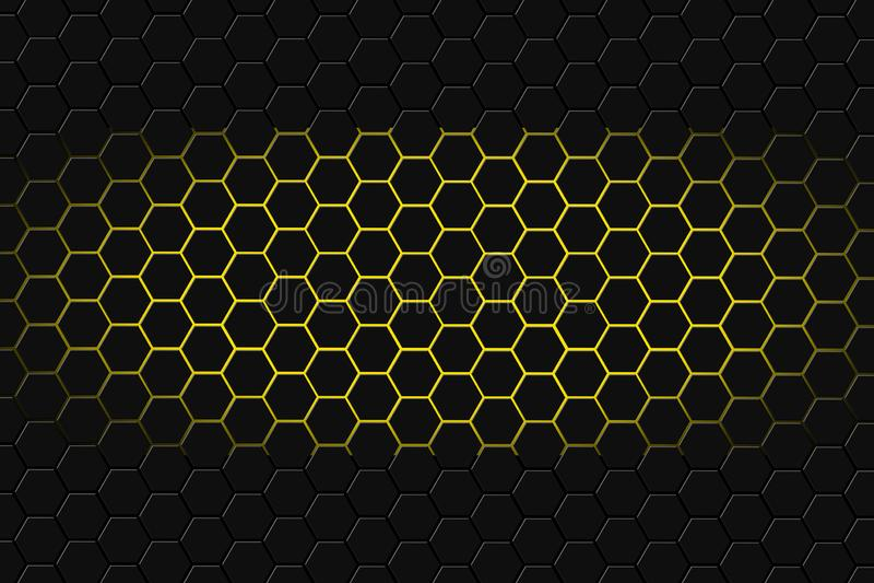 Abstrakcjonistyczny 3d rendering futurystyczna powierzchnia z sześciokątami Ciemny fi tło ilustracja wektor