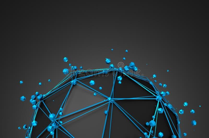 Abstrakcjonistyczny 3d rendering niska poli- czarna sfera zdjęcie stock