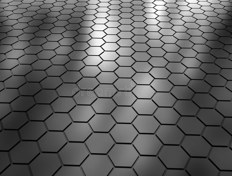 Abstrakcjonistyczny 3d rendering sześciokąt powierzchnia ilustracja wektor